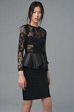 ZARA WOMAN STUDIO BLACK LACE LAMBSKIN LEATHER PEPLUM DRESS XS 6 8!