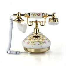 Classical Ceramic Desk Telephone Vintage Button Dial Retro Antique Phone   PI #2