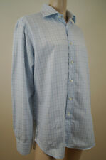 ETRO MILANO Menswear Blue 100% Cotton Checked Long Sleeve Shirt Top Sz:42