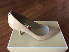 NIB $99 MICHAEL KORS MK Flex Nude Patent Leather Mid Pump Heels Sz 9M