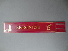 LEATHER BOOKMARK Skegness Clock Tower Jolly Fisherman Burgundy Gold
