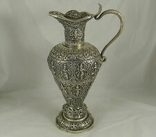 Antique Indian Colonial Silver Ewer Cobra Madras 1902 Presentation 1148 gms