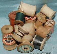 Job Lot 15 Vintage Wooden Cotton Reels Most Empty Asstd Sizes Craft c1930-60s