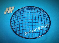 "7"" Motorcycle Gloss Black headlight mesh grill stone guard Cafe bobber chopper"