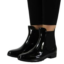 WOMENS LADIES WINTER RAIN FLAT CHELSEA ANKLE WELLIES WELLINGTON BOOTS SHOES SIZE