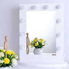 White Vanity Lighted Hollywood Makeup Mirror with Dimmer Stage Beauty Mirror