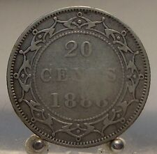 1888 Canada Newfoundland Silver 20 Cents, Old Sterling Silver World Coin