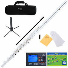 MENDINI SILVER PLATED 16 KEY C FLUTE OPEN/CLOSE HOLE +TUNER, STAND MFE-22S