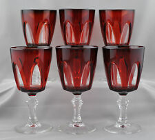Cristal D'Arques Durand Gothic 6 Wine Glasses Ruby Red France Cut To Clear