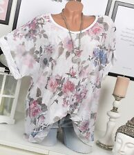 OVERSIZE SHIRT VINTAGE Tunic FLOWERS Summer Neckcloth White sequins 44 46 48