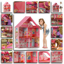 Modern Pink Barbie Dream House Play Home Room Set Girls Toy Doll House Miniature