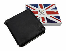 RFID SAFE Blocking Leather Designer Zip-Around Mens Wallet Contactless Card