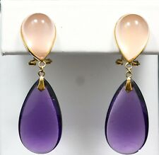 EARRINGS 14K YELLOW GOLD PINK QUATZ AND AMETHYST WITH OMEGA CLIP 41.00MM