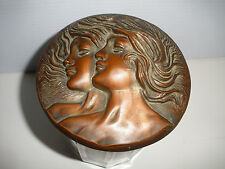 GREAT ANTIQUE ART DECO ART NOUVEAU GLASS TOBACCO JAR HUMIDOR WITH TWO GIRLS LID