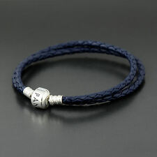 Authentic Pandora Dark Blue Leather Bracelet Double 35cm - 590705CDB-D1