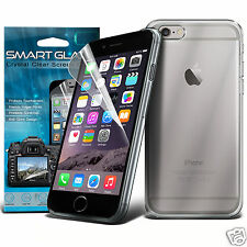 Tough Thin Clear Gel Case Cover & Smart Glaze LCD Film for Apple Iphone 6