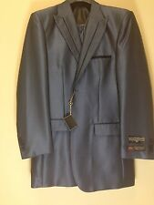 BNWT Stacy Adams 40L Navy Blue Fashion Striped Exotic Harvey Suit 3PC Sharkskin