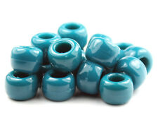 500 Dark Teal Opaque 9x6mm Barrel Pony Beads USA Made by The Beadery