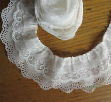 5 yard 3-layer Pleated Organza Lace Edge Trim Gathered Mesh Chiffon Ribbon White