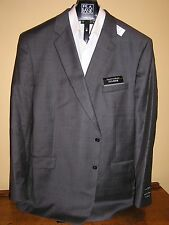 $660 New Jos A Bank Traveler 100% wool Grey w/ faint Pane 2 button jacket 54 PL