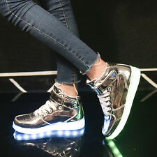 Women High Top LED light Shoes Casual Sneakers Street Dance Multicolor Trainers-