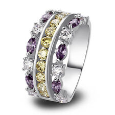 Free Shipping Gorgeous Body Jewelry Citrine & Amethyst Topaz Silver Ring Size 9