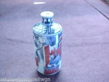 "Antique Chinese 3 1/2"" Blue & White Snuff Bottle With Iron Red Paint Signed"