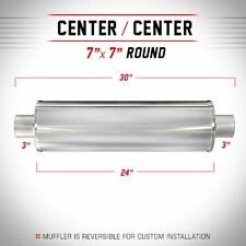 """MAGNAFLOW UNIVERSAL MUFFLER 13742 7"""" ROUND STAINLESS STEEL 3"""" IN/OUT"""