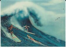 3d Lenticular Vintage Postcard Big Wave Surfing Hawaii 1960's Rare Free S/H