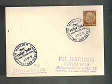 1937 Munich Germany Cover to Berlin Eternal Jew Movie Cancel Judaica Ph Baruch