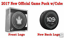 2017 Toronto Maple Leafs 100th Official Hockey Game Puck - New Back Logo w/Cube