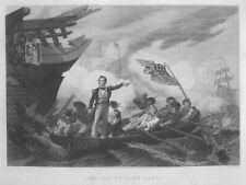 War of 1812 BATTLE of LAKE ERIE Oliver Perry ~ Old 1866 Art Print Engraving RARE