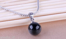 Round Black Moonstone Cat Eye Pendant 925 Sterling Silver Filled Women Necklace