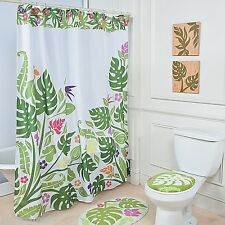 Tropical Green Palm Leaf Island Hibiscus Bloom Floral Shower Curtain & Hook Set