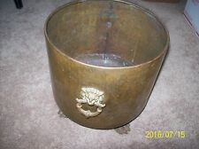 Vintage Hammered Brass Large Planter Lion Handles Claw Foot Footed Pot/Coldren