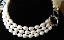 3 ROWS 8-9MM rice freshwater cultured pearl NECKLACE 17-19 INCH