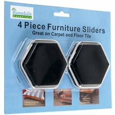 HOME LIFE ESSENTIALS 4 Piece Furniture Sliders Great For Carpet & Floor Tile NIP