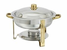 Winco 203, 4-Quart Gold-Accented Stainless Steel Round Chafer
