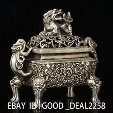 Chinese Silver copper Hand-carved Foo Dogs Incense Burner w Ming XuanDe Mark