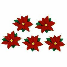 Jesse James Buttons - Dress It Up ~ Red Poinsettias 2951 ~ Sewing ~Scrapbook
