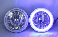 """1965-1978 FORD MUSTANG 7"""" Round 6014/6015/6024  BLUE LED SMD Halo Headlights"""