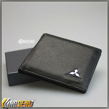 deluxe MITSUBISHI Genuine 100% Cow Leather Bifold Wallet Men Slim Purse Car Gift