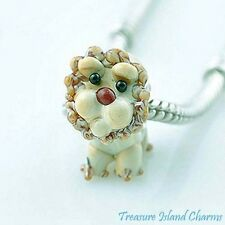 LION LAMPWORK MURANO GLASS .925 Sterling Silver EUROPEAN EURO Bead Charm