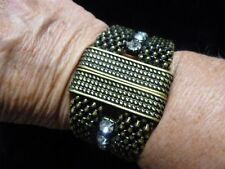 Vintage Antique Bronze Contemporary Mesh Weave Bracelet w/Rhinestones
