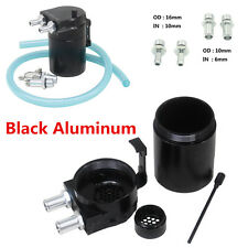 Black Oil Reservoir Catch Can Tank Breather Filter Baffled Closed Loop Aluminum