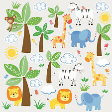 JUNGLE ANIMALS FRIENDS wall sticker 47 decal scrapbook safari elephant  zebra