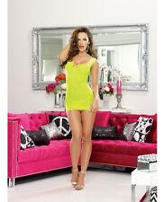 Lace-Up Back Sheer Chemise G-String 2 pc Women Dreamgirl Lime/Hot Pink One Size