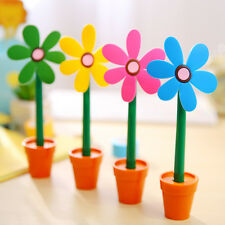 1PC cute Sunflower flower pot shaped Ball Point Ballpoint Pen Office Stationery
