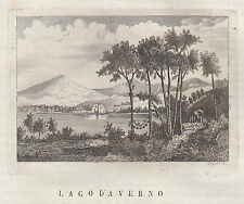 Napoli Lago d'Averno incisione in rame 1839