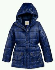 NWT Tommy Hilfiger Girls Printed Hooded Puffer Winter Jacket Blue MEDIUM 8 / 10
